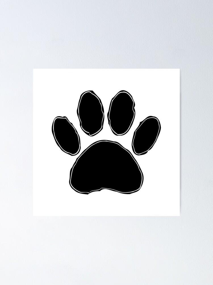 Dog Paw Drawing : drawing, Drawing, Black