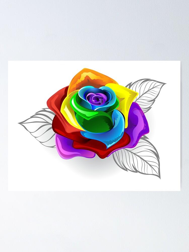 Rose Arc En Ciel : Poster, Rosier, Arc-en-ciel, (Roses, Arc-en-ciel), Blackmoon9, Redbubble