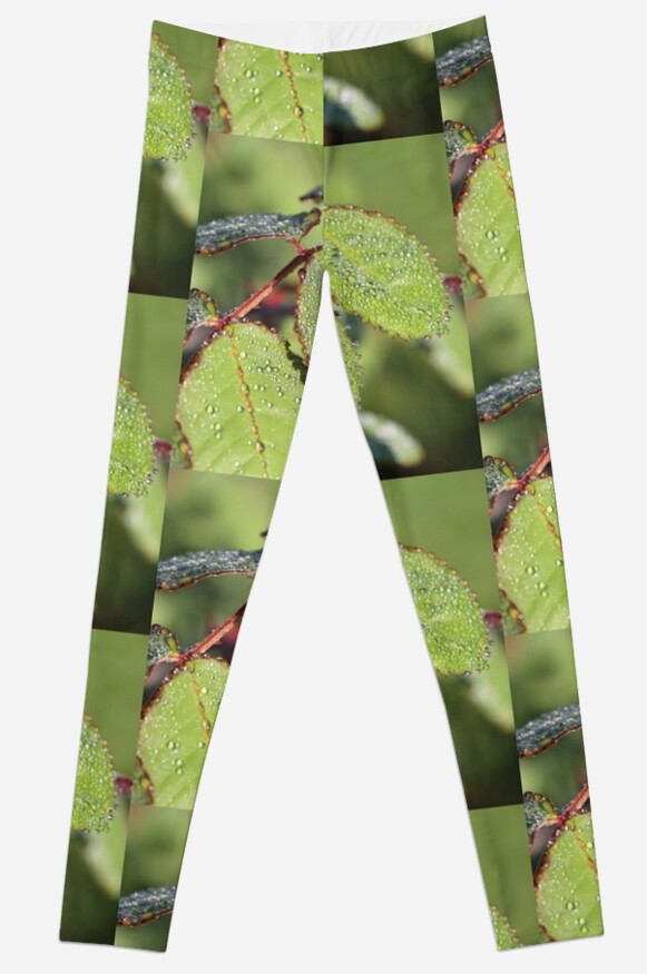 Dewy green Autumn Leaves Leggings by stine1 on Redbubble
