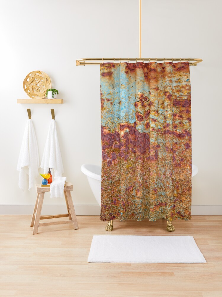 patterns in rust shower curtain by femaleform redbubble