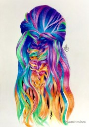 """drawing of rainbow hair"" art"