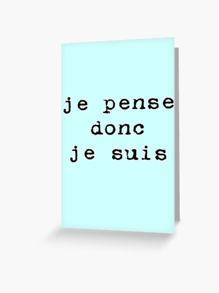 Je Pense Donc Je Suis Descartes : pense, descartes, Pense,, Descartes, Philosophy, Sticker, Greeting, Stickersandtees, Redbubble