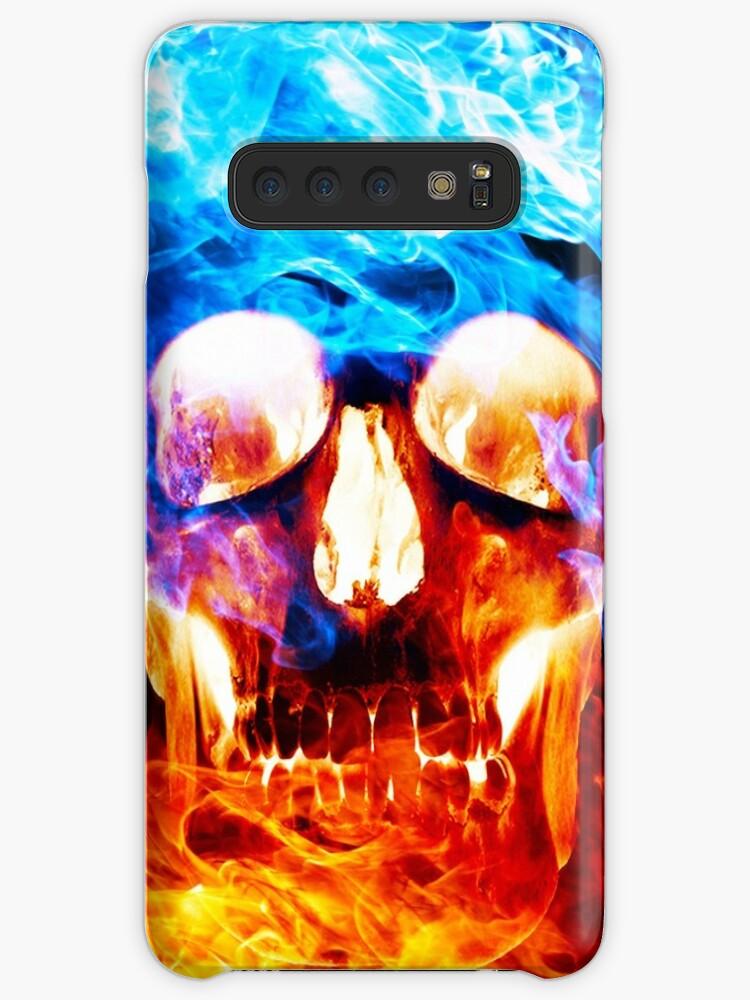 blue red fire skull