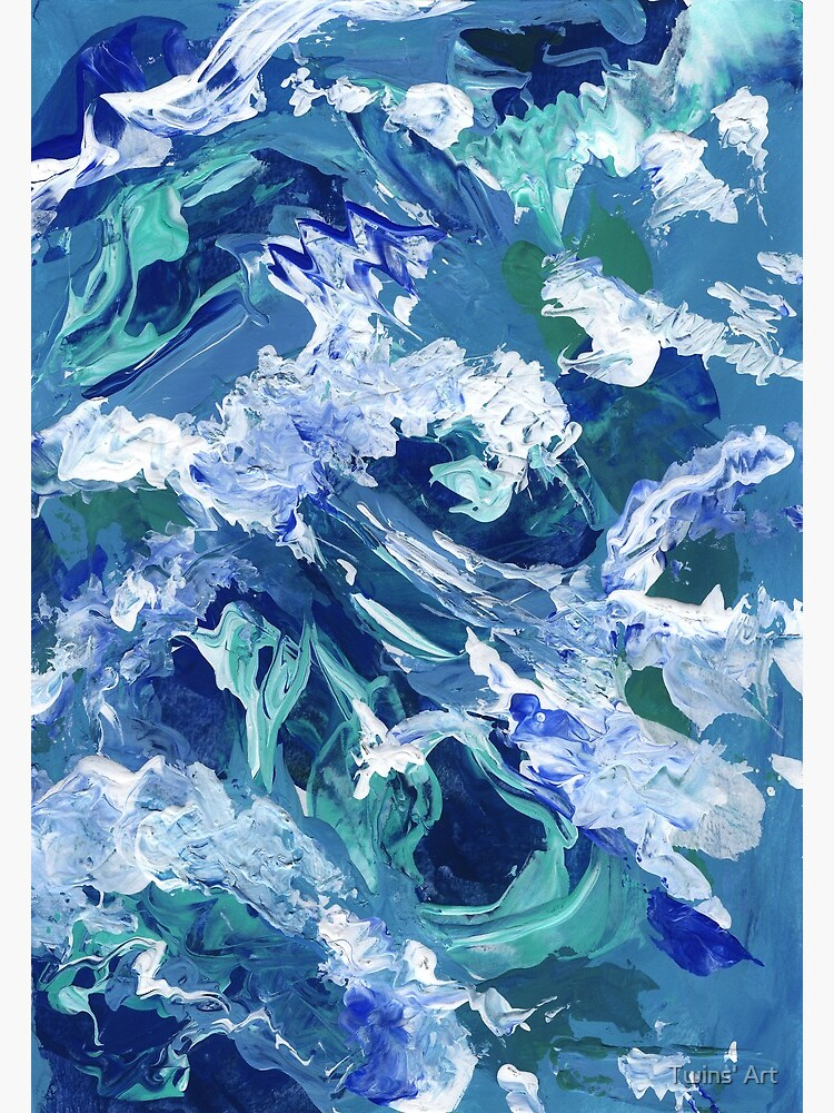 abstract waves acrylic blue
