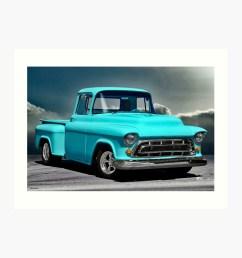 1957 chevrolet 3100 stepside pickup i art print by davekoontz redbubble [ 1000 x 1000 Pixel ]