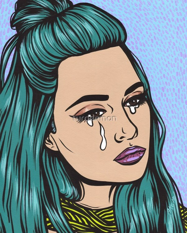 """teal Tears - Crying Comic Pop Art Girl"" Turddemon Redbubble"
