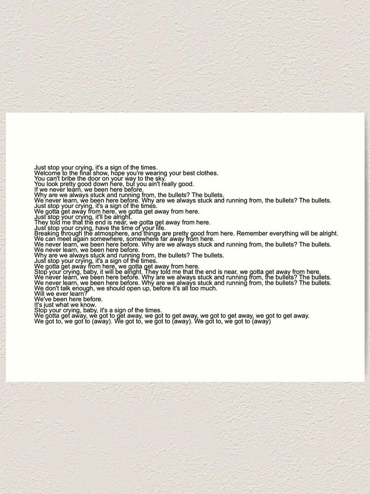 Sign Of The Times Paroles : times, paroles, Impression, Artistique, Paroles, Chanson, Harry, Styles,