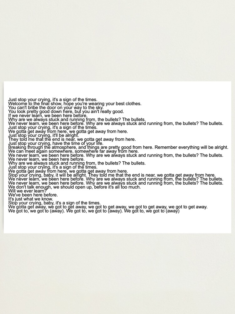 Sign Of The Times Paroles : times, paroles, Impression, Photo, Paroles, Chanson, Harry, Styles,