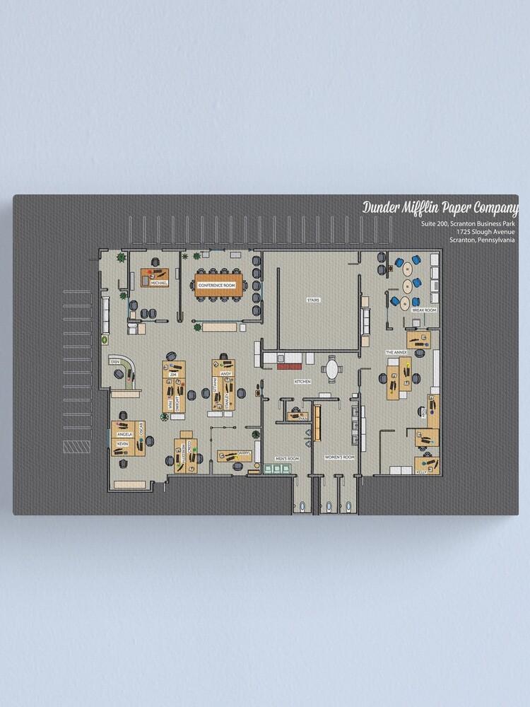 Dunder Mifflin Office Layout : dunder, mifflin, office, layout, Dunder, Mifflin, Paper, Company, Floor, Floorplan, Blueprint, Gift
