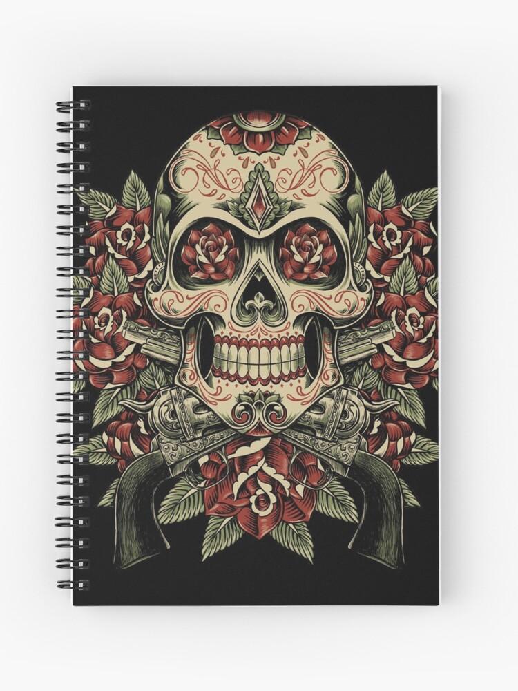 Cuaderno De Espiral Calavera Y Rosas Con Revólveres Diseño