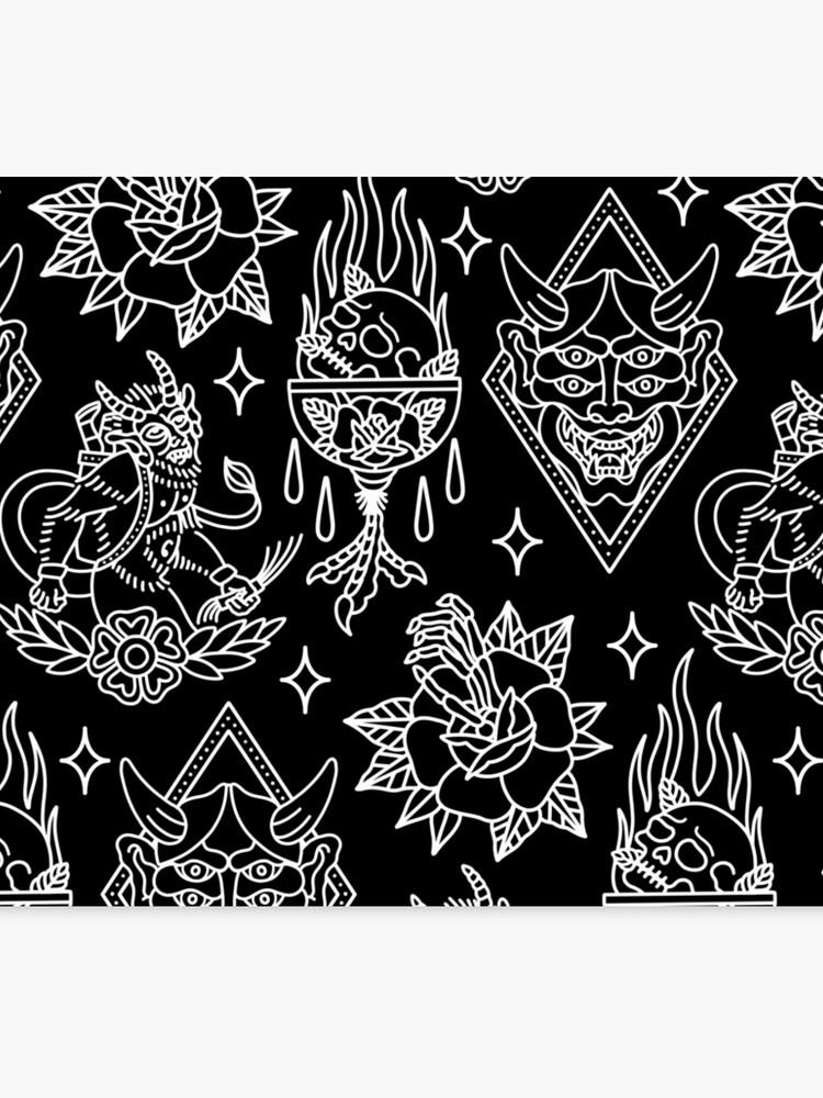Lienzo Patrón De Flash De Tatuaje Tradicional Blanco Y Negro De