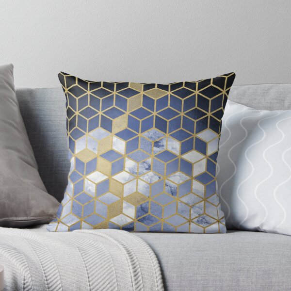 shades of blue cubes pattern throw pillow by nomadartstudio redbubble