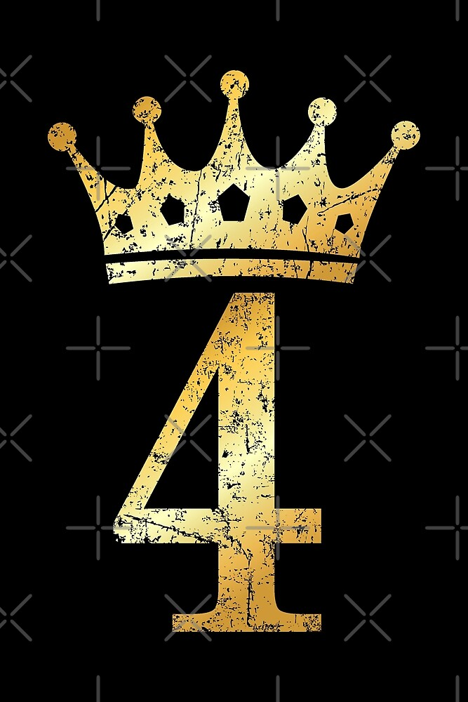 """Crown Number 4 4th Birthday & Anniversary Ancient Gold"