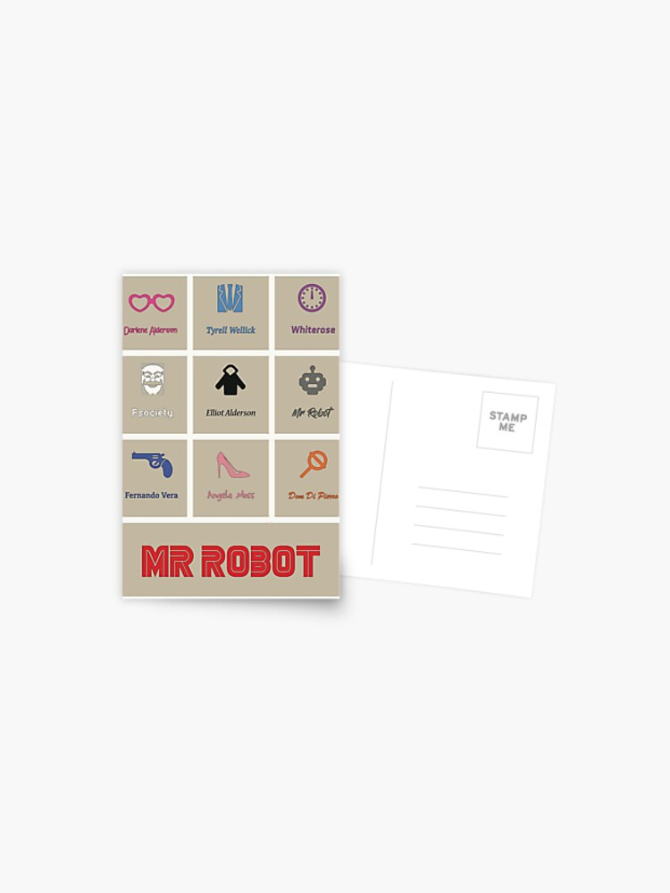 mr robot minimalist poster postcard by annacata redbubble