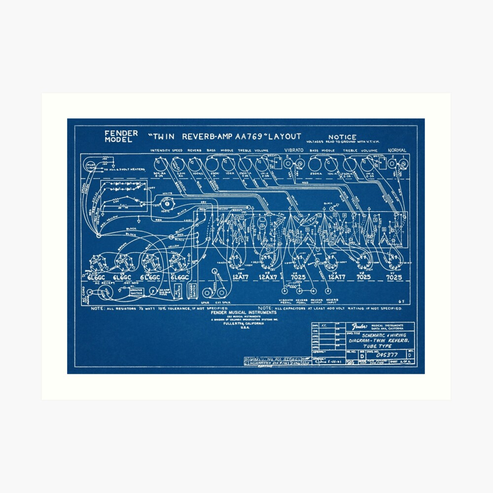 hight resolution of  fender twin reverb amplifier schematics blueprint art print by mkkessel redbubble