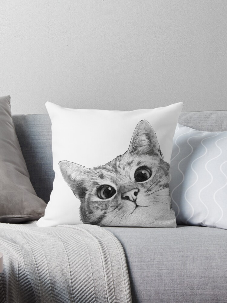 sneaky cat throw pillow by lauragraves redbubble