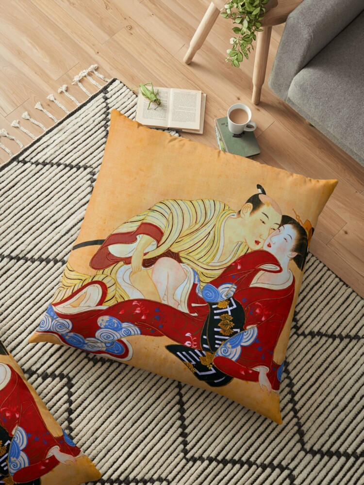 erotic art red hot love japanese shunga floor pillow by tanabe redbubble