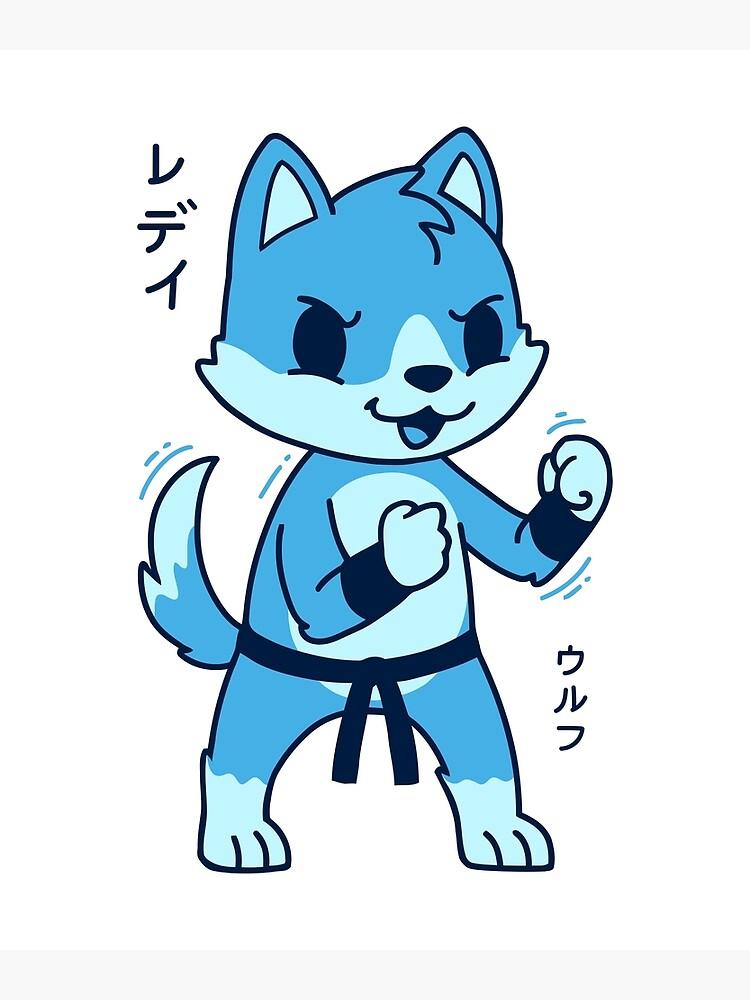 Cute Kawaii Wolf : kawaii, Kawaii, T-Shirt, Japanese, Animal, Postcard, Dinosareforever, Redbubble