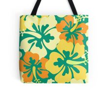 Hibiscus Floral PatternTote Bags. Pattern hibiscus flowers in a pattern / background in Emerald, lemon sorbet, ivory white and orange colors.