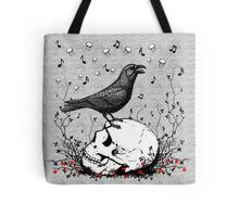 Raven Sings Song of Death on Skull Illustration Tote Bags. A black raven bird standing on a skull singing the song of death with music notes and skulls. Haunting Illustration.