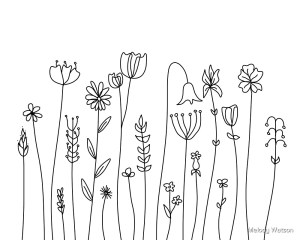 line simple flowers drawings drawing flower redbubble easy doodle happywall wildflowers cape wall drawn da flat salvato angelique