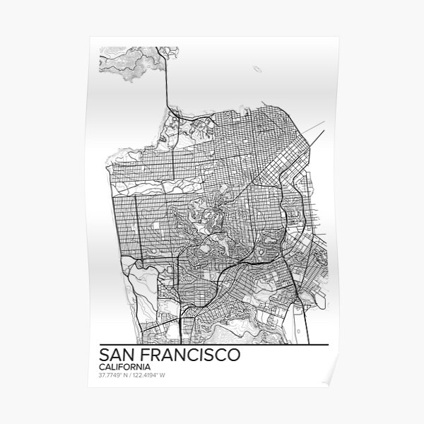 san francisco map posters redbubble