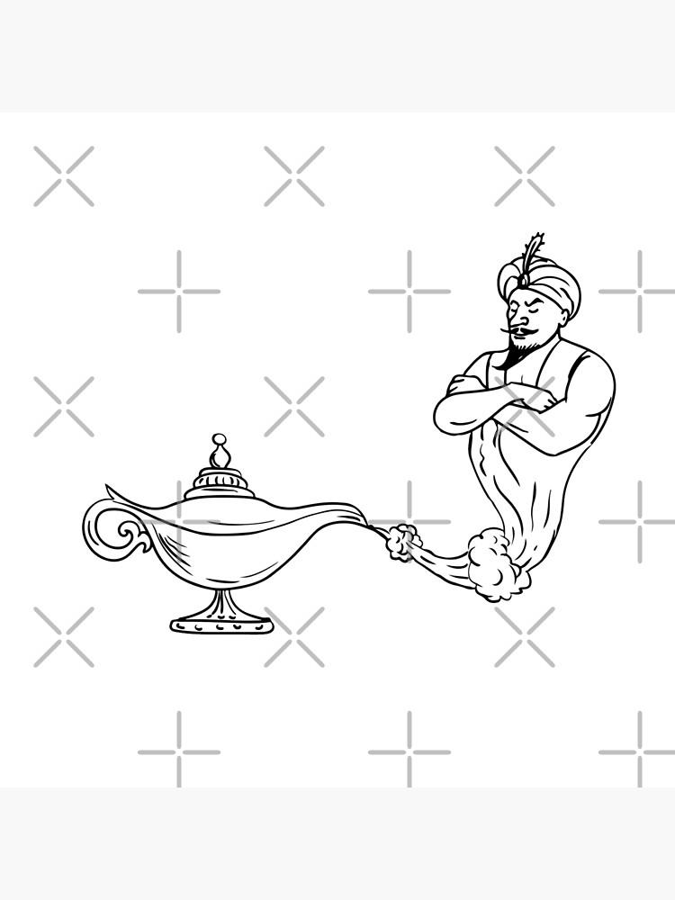 Genie Lamp Drawing : genie, drawing, Genie, Coming, Black, White, Drawing