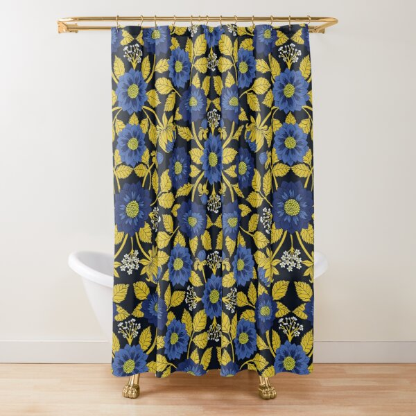 dahlias shower curtains redbubble