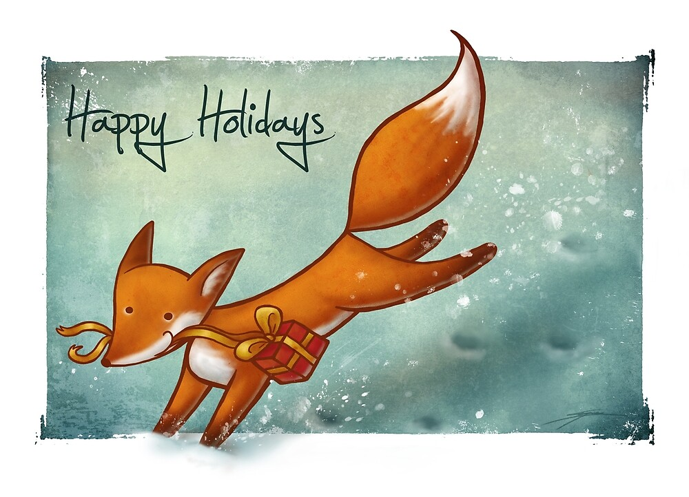 Holiday Fox By Ine Spee Redbubble