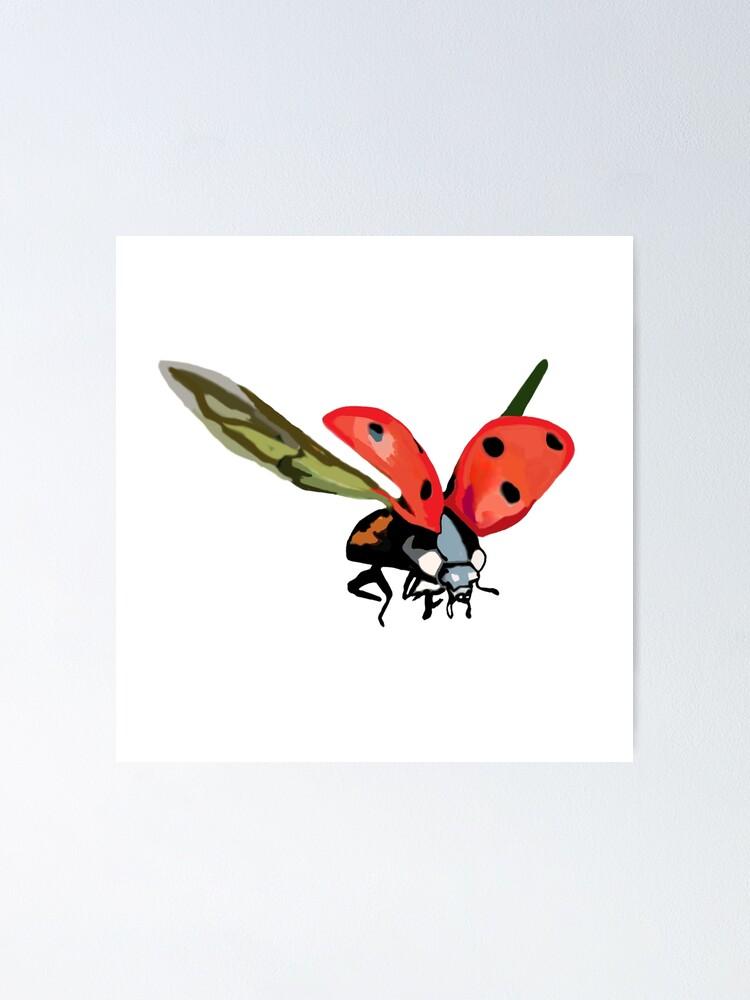 Ladybug Flying Drawing : ladybug, flying, drawing, Ladybug, Poster, Manitarka, Redbubble