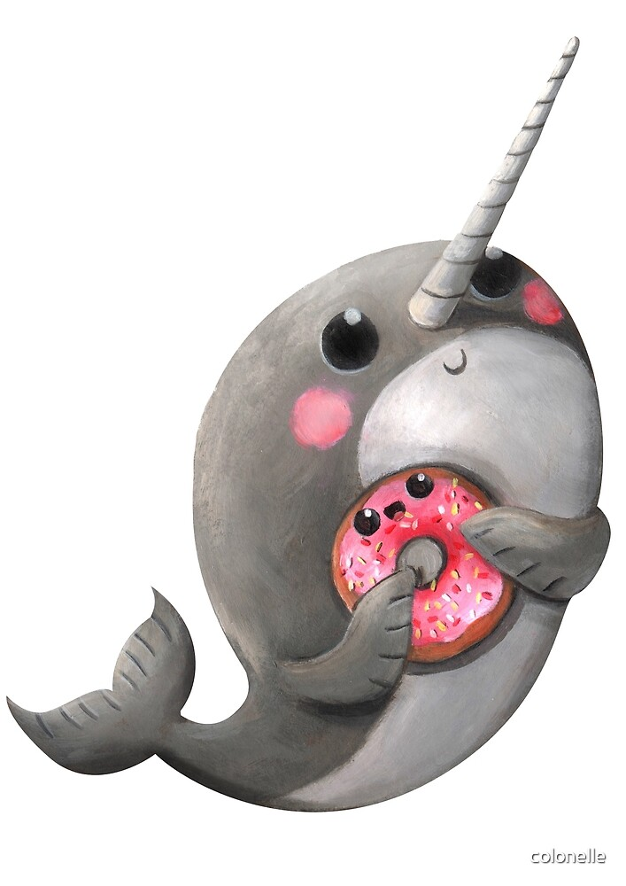 Cute Narwhal with donut by colonelle  Redbubble