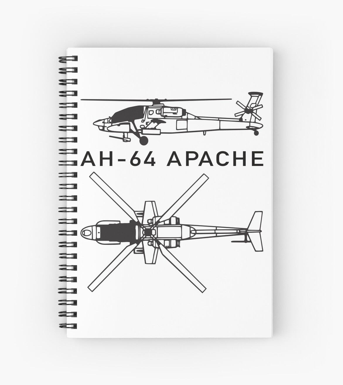 hight resolution of ah 64 apache attack helicopter spiral notebook