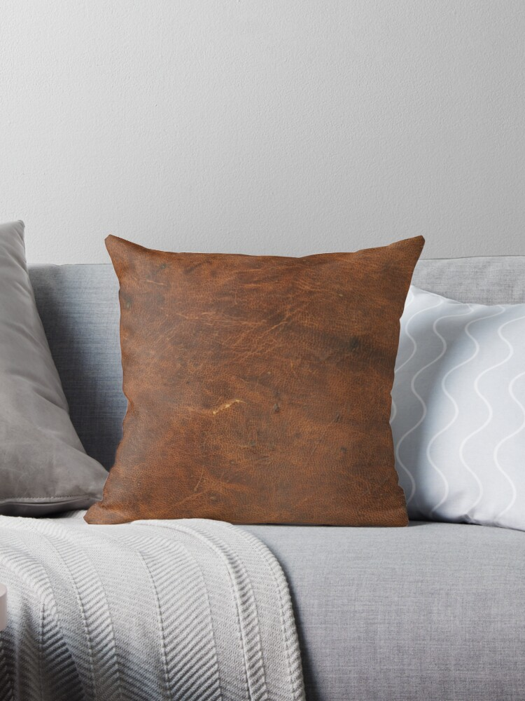 old tan leather texture cowhide throw pillow by koovox redbubble