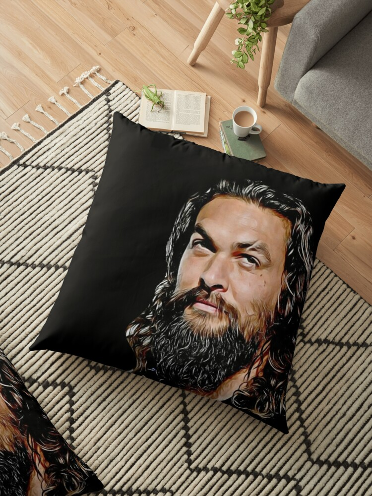 jason momoa digital artwork drawing painting fanart fandom sexy hot black and white good vibes floor pillow by avit1 redbubble