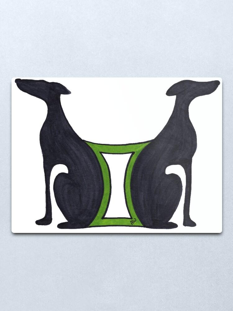 "Gemini - Greyhound Art Deco Horoscope The Twins Astrology"" Metal Print by JaneWrenArt | Redbubble"