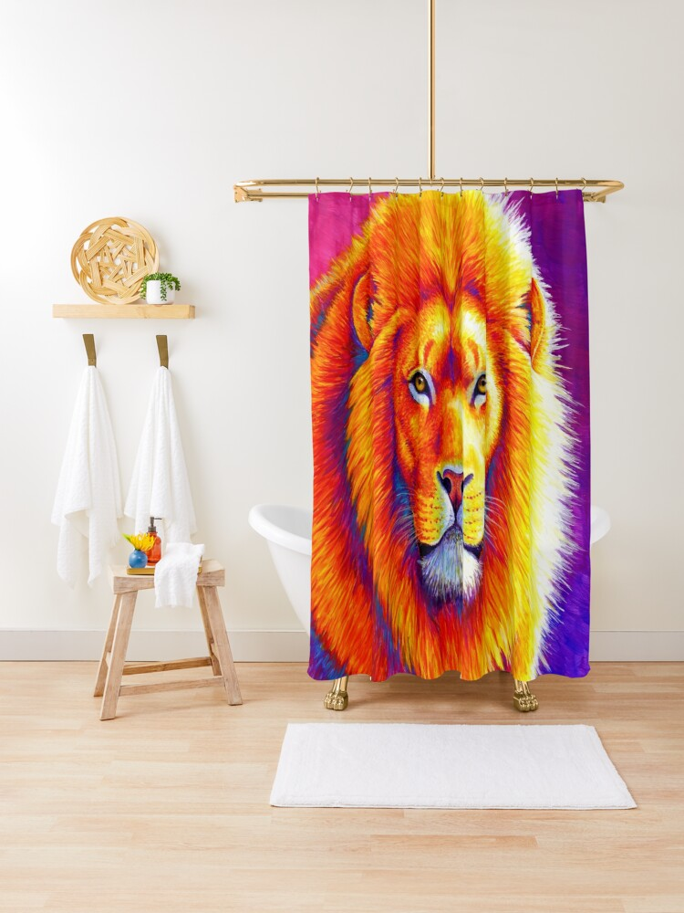 sunset on the savanna colorful african lion shower curtain by lioncrusher redbubble