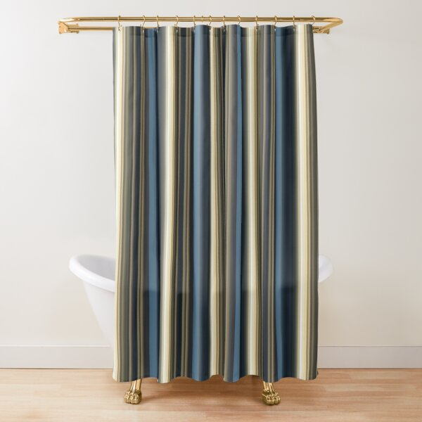 modern blue cream taupe mixed stripe pattern shower curtain by artification redbubble