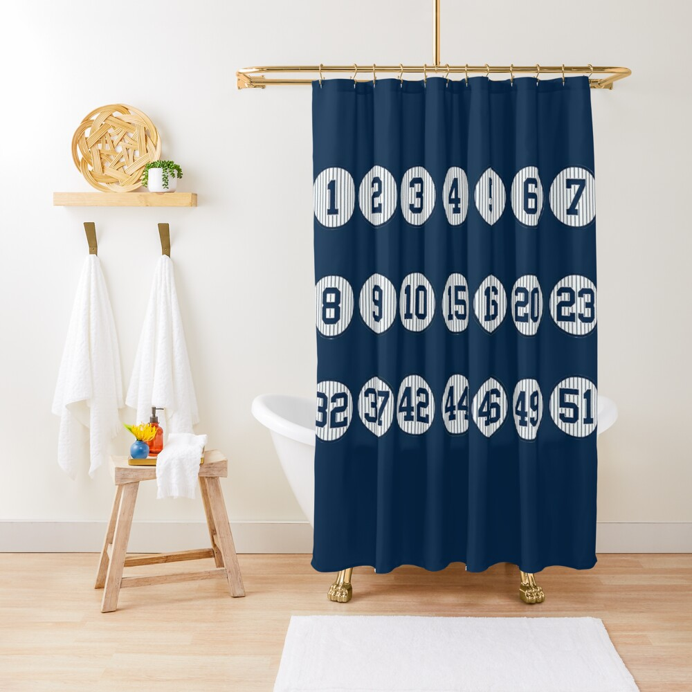 yankees retired numbers shower curtain by cocreations redbubble