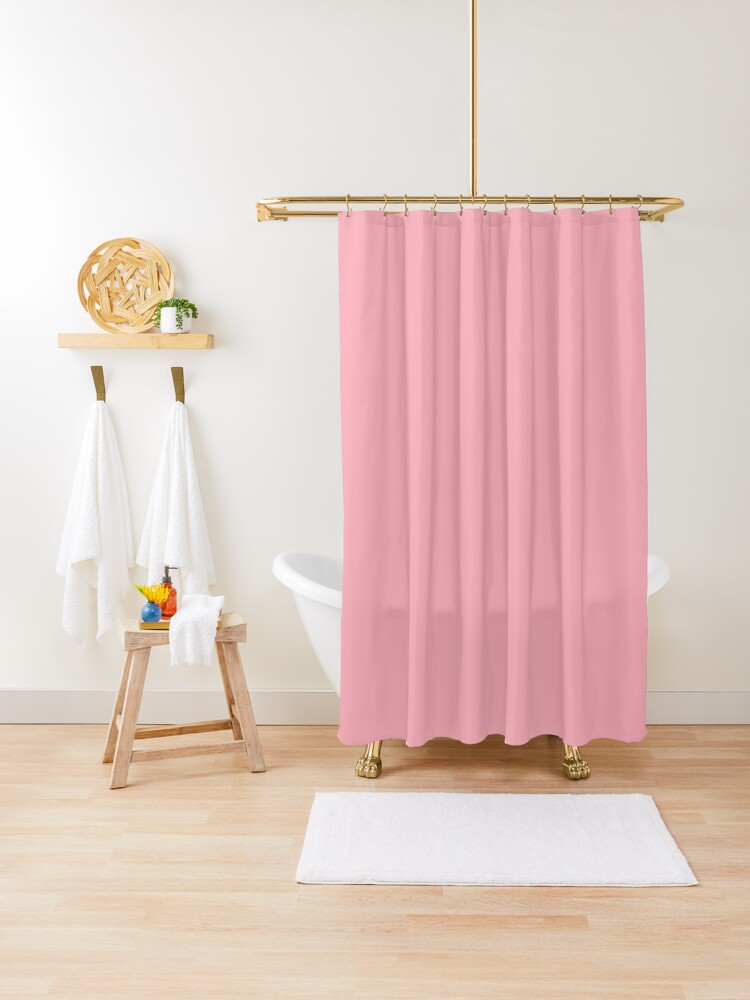 cheapest solid light pink color shower curtain by cheapest redbubble