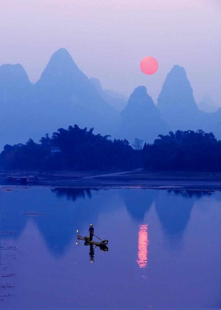 LI RIVER SUNSET  CHINA by Michael Sheridan  Redbubble