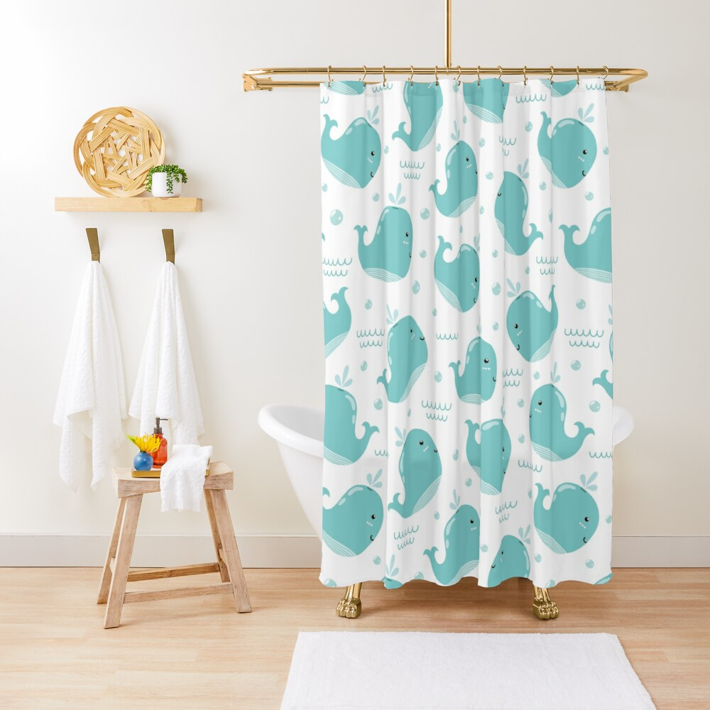 kids bathroom decorative ocean whale themed shower curtain by fashopera redbubble