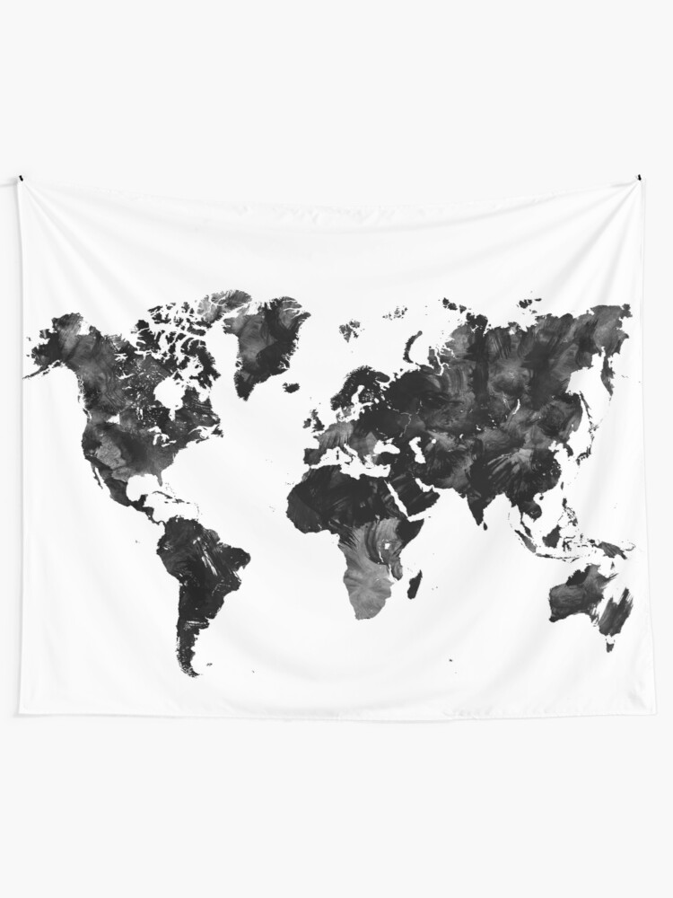 World Map Tapestry Black And White : world, tapestry, black, white, Black, Watercolor, World, Tapestry, Adiosmillet, Redbubble