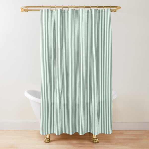 mini sage green and white vertical pin stripes shower curtain by podartist redbubble
