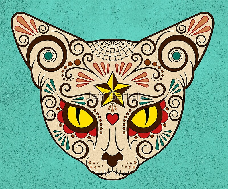 """""""day Of The Dead Sugar Skull Cat Face"""" Art Prints By Jeff"""