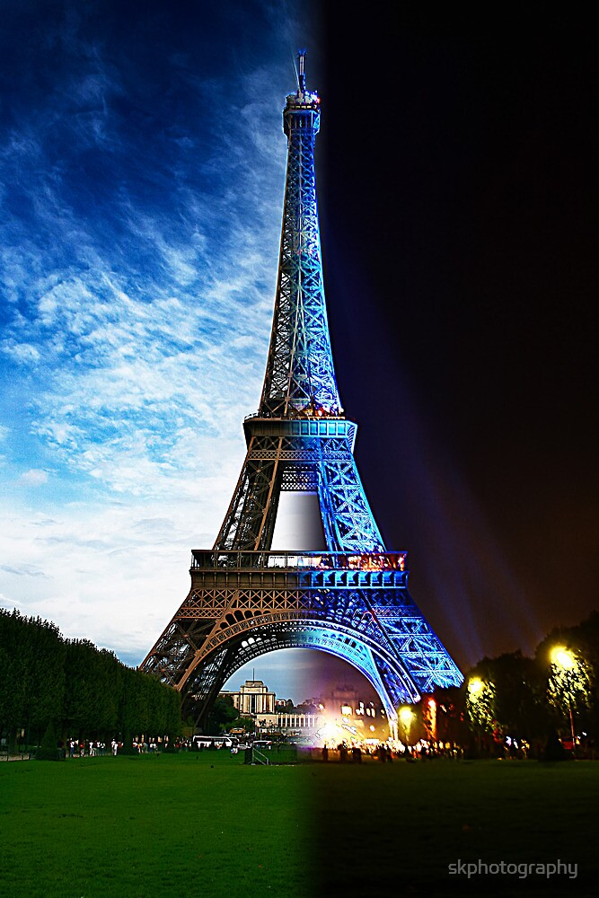 Eiffel Tower morning to night  Paris by skphotography