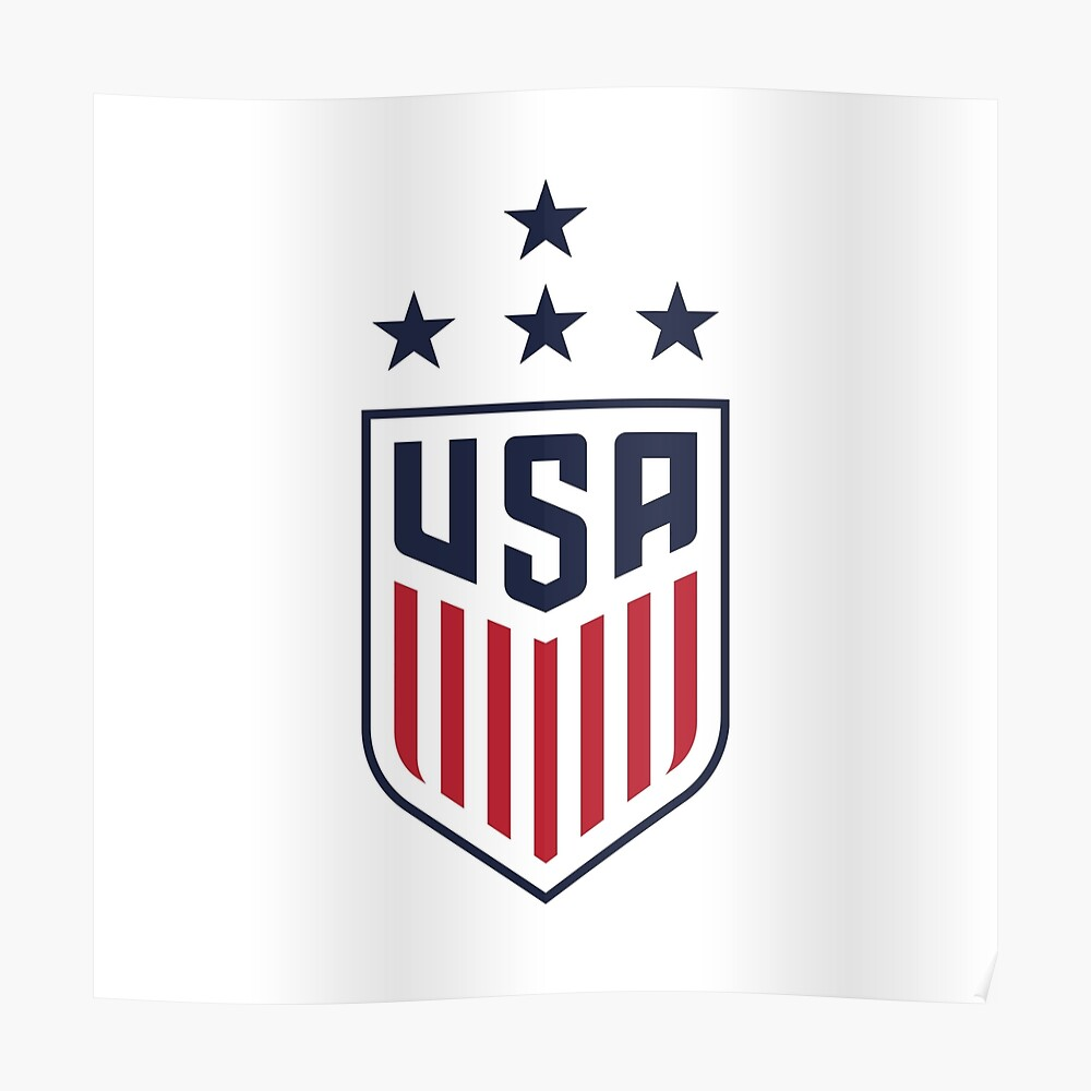 usa women s soccer logo w navy star poster by bellawoodrow redbubble