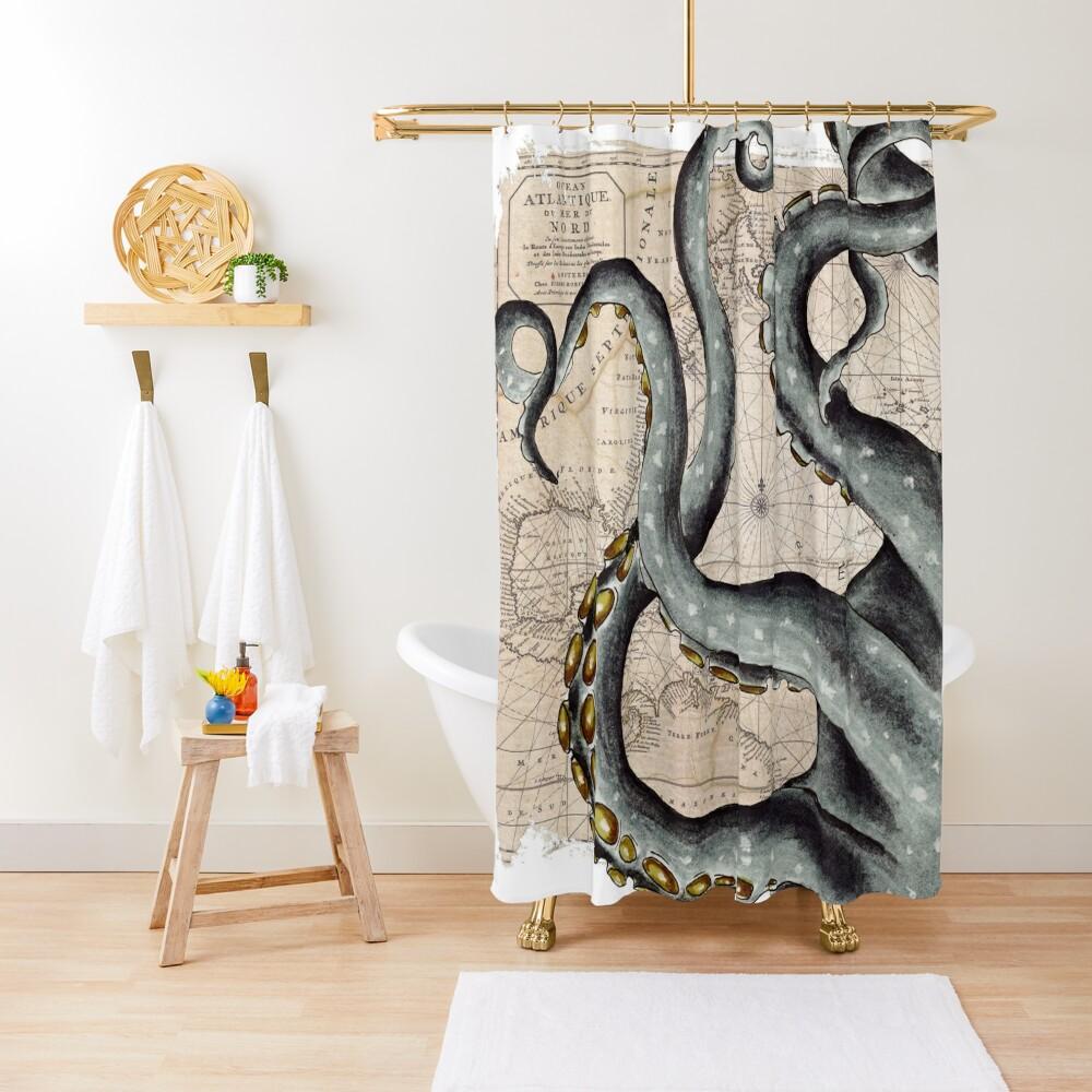 steel grey octopus tentacles kraken vintage map chic shower curtain by eveystudios redbubble