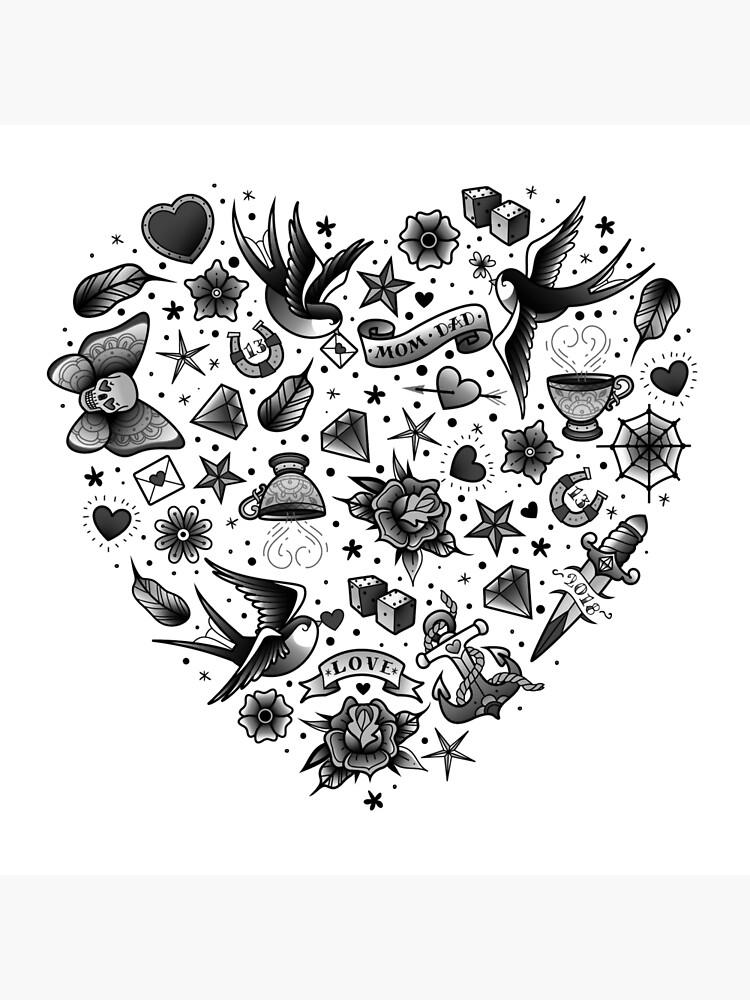 Black And White Heart Tattoo : black, white, heart, tattoo, Traditional, School, Tattoo, Black, White, Heart