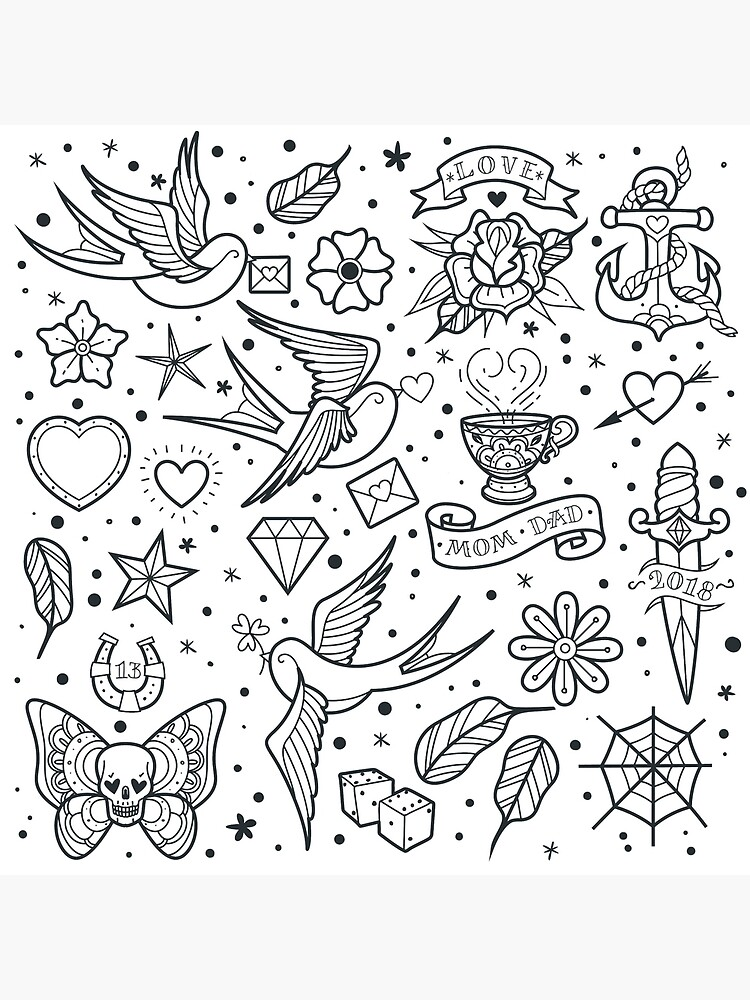 Traditional Tattoo Outlines : traditional, tattoo, outlines, Traditional, School, Tattoo, Outlines, Collection