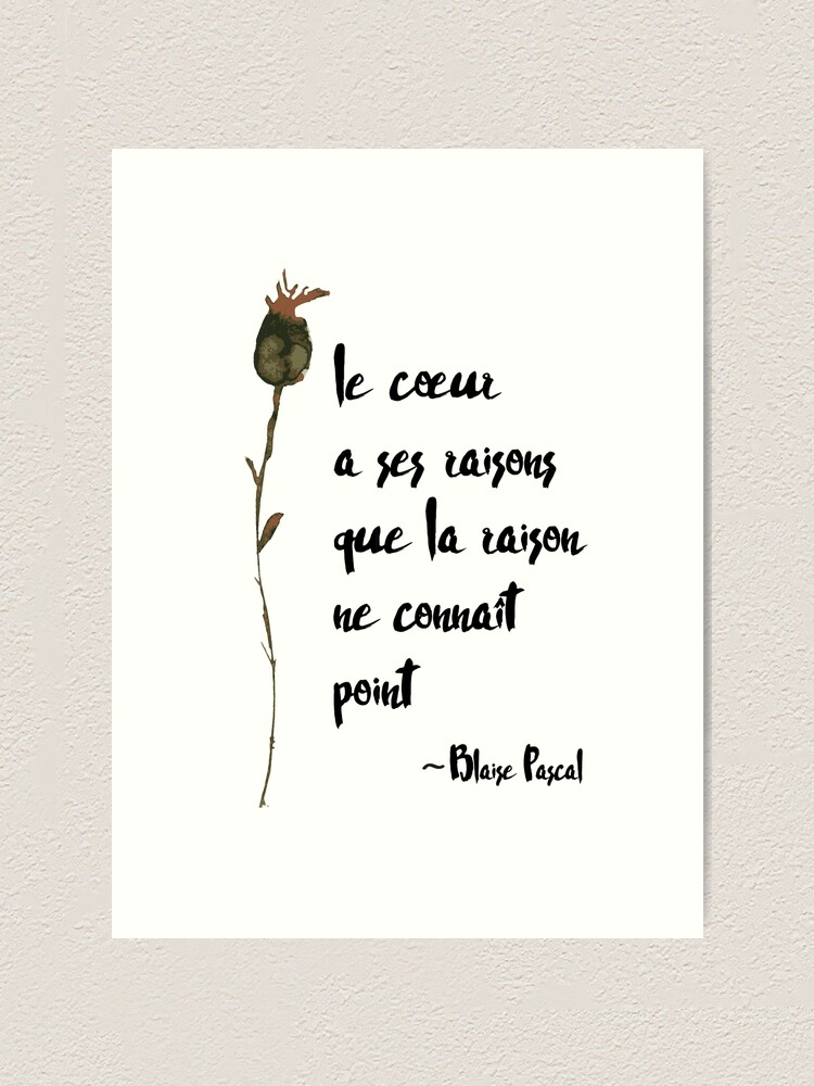 Le Coeur Et La Raison : coeur, raison, Coeur, Raisons, Heart, Reasons, French, Quote